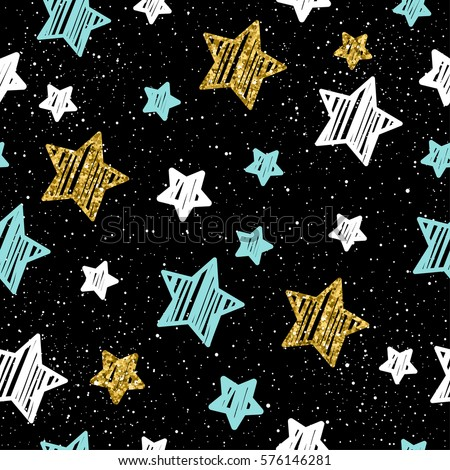 doodle star seamless background gold blue and white star abstract childish star pattern