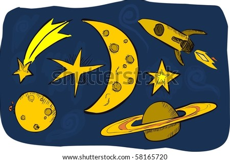 doodle stars, moon, and spaceship