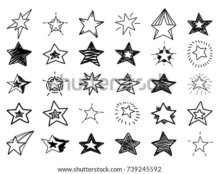Doodle stars set. Many cute hand drawn stars on white background. Vector illustration for print, textile, paper.