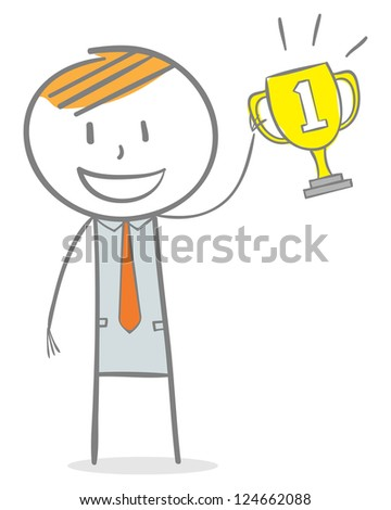 Doodle stick figure: First place. Businessman holding a trophy