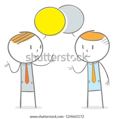 Doodle stick figure: Two businessmen in conversation