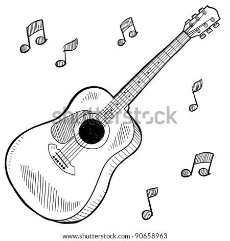 Doodle style acoustic guitar in vector format - stock vector