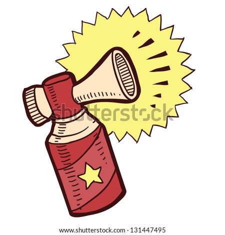 Doodle style air horn sketch in vector format.