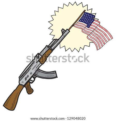 Doodle style America loves assault rifles and weapons illustration in vector format.  Includes  gun and American flag.