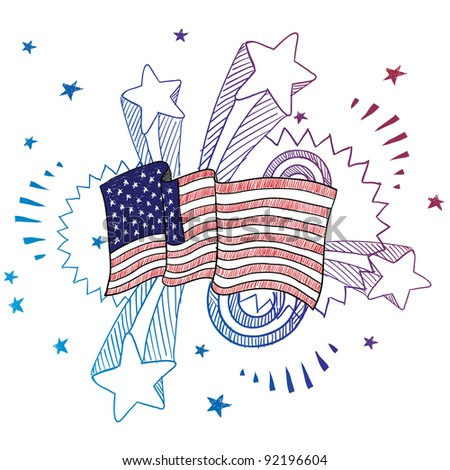 Doodle style American flag illustration in vector format with retro 1970s pop background