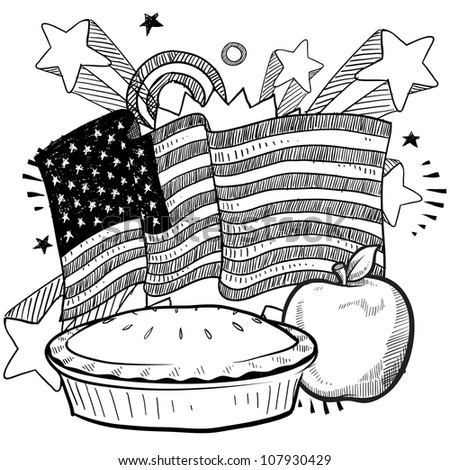 Doodle style American flag with apple pie and whole apple sketch in vector format