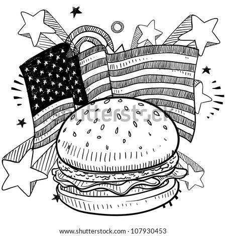 Doodle style American flag with hamburger and condiments sketch in vector format