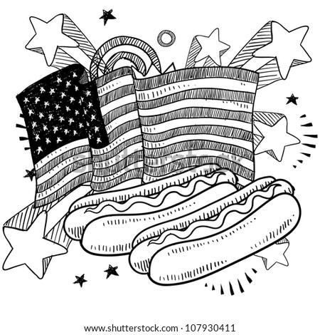 Doodle style American flag with hot dogs and condiments sketch in vector format