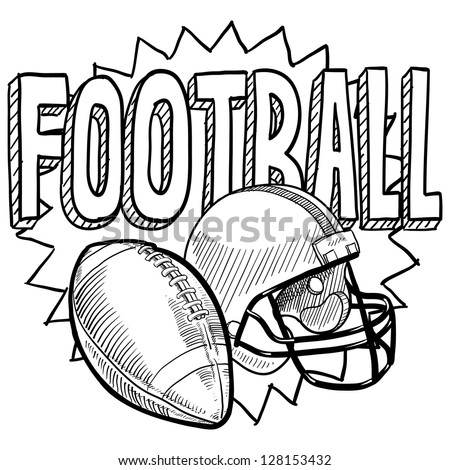 Doodle style American football illustration illustration in vector format. Includes text, helmet and ball.