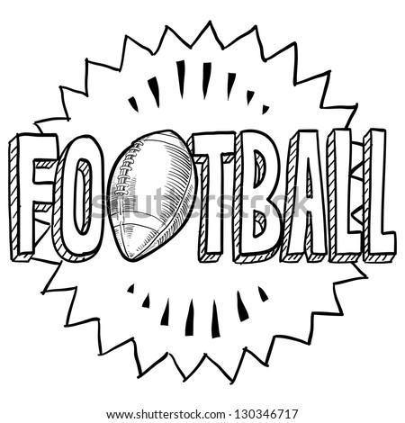 Doodle style American football illustration in vector format. Includes text and ball.