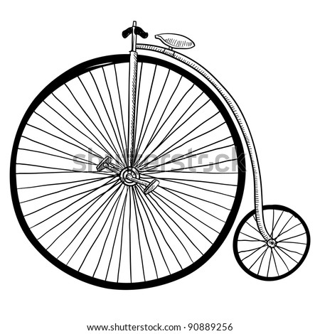 Doodle style antique bicycle with large front tire in vector format