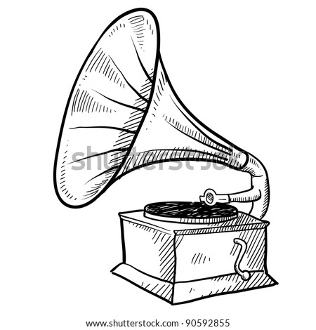 Doodle style antique phonograph or record player in vector format