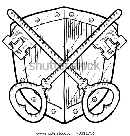 Doodle style antique security coat of arms or herald with shield and key illustration in vector format