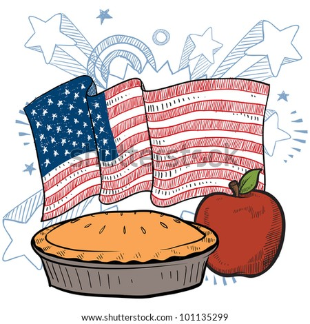 Doodle style apple pie with colorful American flag sketch in vector format