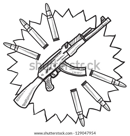 Doodle style assault rifle or AK-47 gun illustration in vector format.