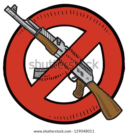 Doodle style Assault Weapons Ban, rifle, or gun control illustration in vector format.