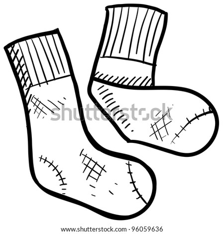 Doodle style athletic socks illustration in vector format.