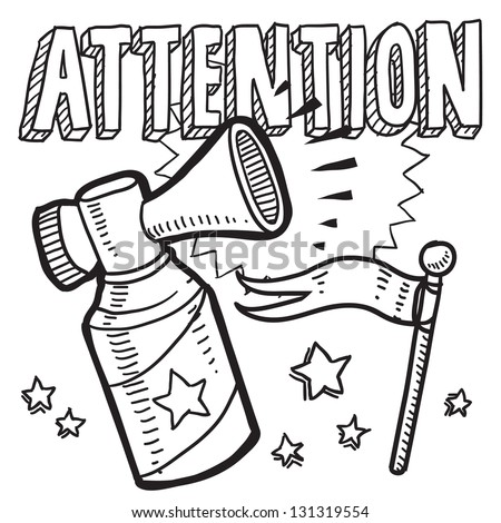 Doodle style attention announcement icon in vector format.  Sketch includes text, air horn, and flag.