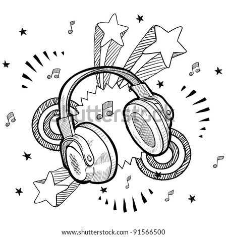 Doodle style audio headphones illustration in vector format with retro 1970s pop background