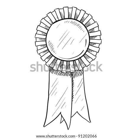 Doodle style award ribbon illustration in vector format suitable for web, print, or advertising use.