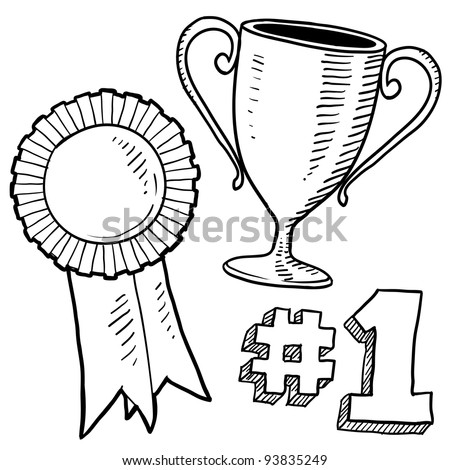 Doodle style awards sketch in vector format Set includes trophy ribbon and 1st place graphic