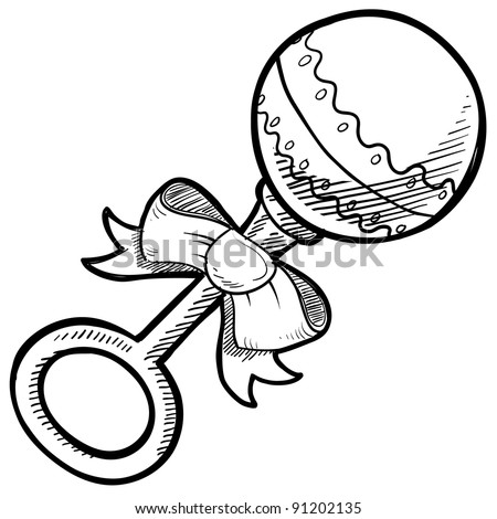Doodle Style Baby Rattle Illustration In Vector Format