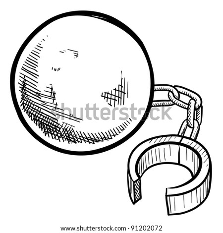 Doodle style ball and chain illustration in vector format suitable for web, print, or advertising use.