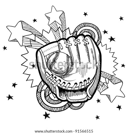Doodle style baseball glove illustration in vector format with retro 1970s pop background