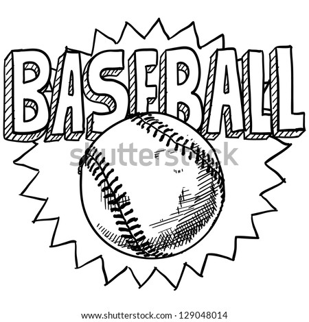 Doodle style baseball sports illustration in vector format.  Includes ball and title text.