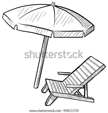 Doodle style beach chair and umbrella in vector format