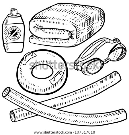 Doodle style beach vacation or poolside items in vector format.  Set includes towel, goggles, inner tube, floaties, suntan lotion.