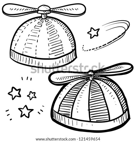 Doodle style beanie with propeller sketch in vector format. - stock vector
