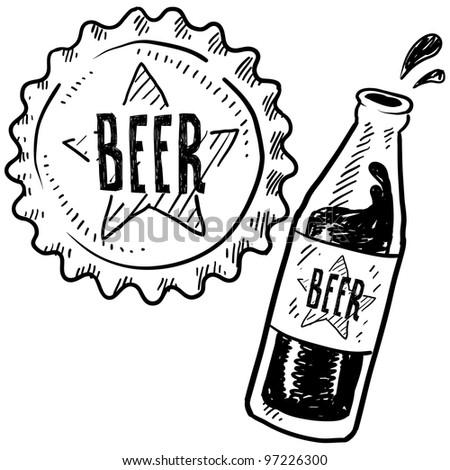 Doodle style beer bottle and cap sketch in vector format