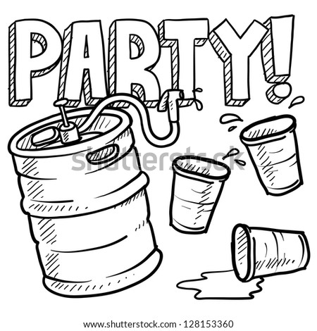 Doodle style beer keg, frat party, or kegger illustration in vector format