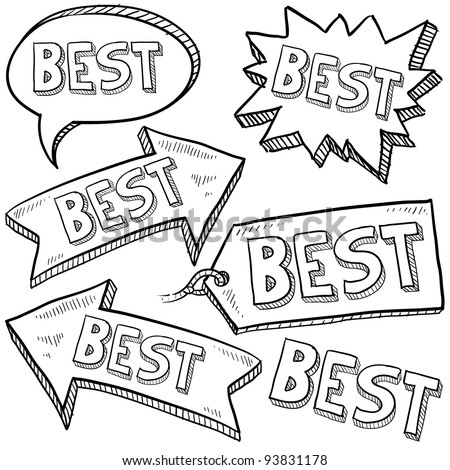 Doodle style best tags, labels, and arrows sketch in vector format