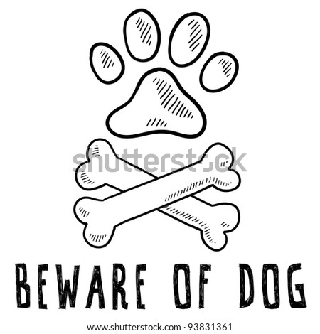 Doodle style beware of dog sketch in vector format