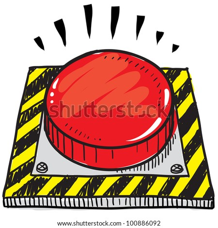 Doodle style big red panic button  illustration in vector format