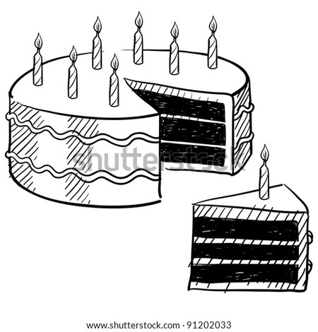 Doodle style birthday cake and cake slice illustration in vector format suitable for web, print, or advertising use.