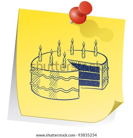 Doodle style birthday cake on yellow sticky note sketch in vector format