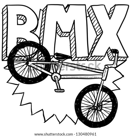 Doodle style BMX bike sports illustration.  Includes text and bicycle.