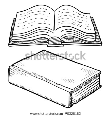 Doodle style book or library vector illustration
