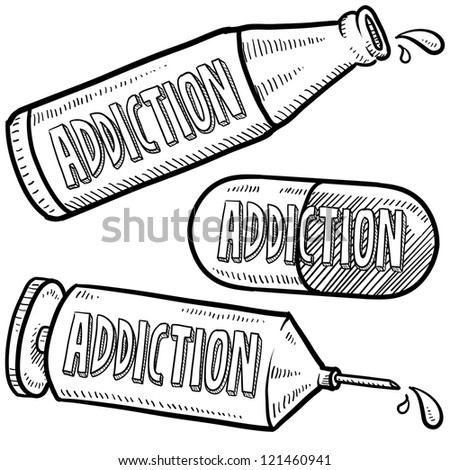 Doodle style bottle, syringe and pharmaceutical sketch with addiction text message on them.  Vector format.