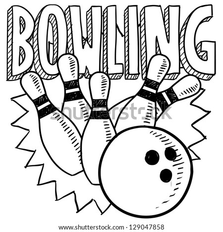 Doodle style bowling sports illustration in vector format.  Includes title text, bowling ball, and pins.