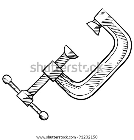 Doodle style C Clamp for woodworking or carpentry illustration in vector format suitable for web, print, or advertising use.