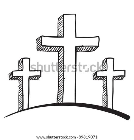 Doodle style calvary crucifix vector illustration