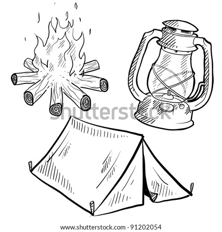 Doodle style camping equipment illustration in vector format suitable for web, print, or advertising use. Includes lantern, campfire, and tent.