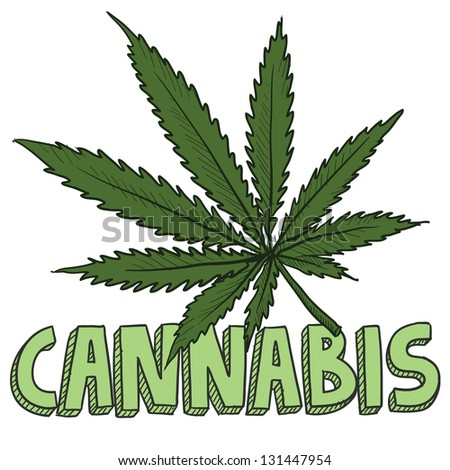 Doodle style cannabis marijuana leaf sketch in vector format. Includes text and pot plant.