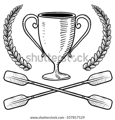 Doodle style canoeing or boating trophy sketch in vector format.