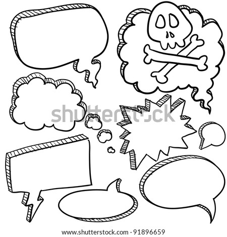 Doodle style cartoon conversation, speech, or thought bubbles in vector illustration format