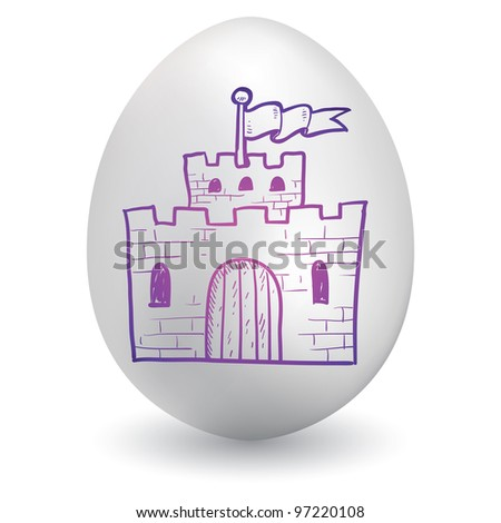 Doodle style castle, security, or safety sketch on decorated holiday Easter Egg in vector format